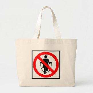Muestra prohibida comba de la carretera bolsa tela grande