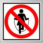 Muestra prohibida comba de la carretera posters