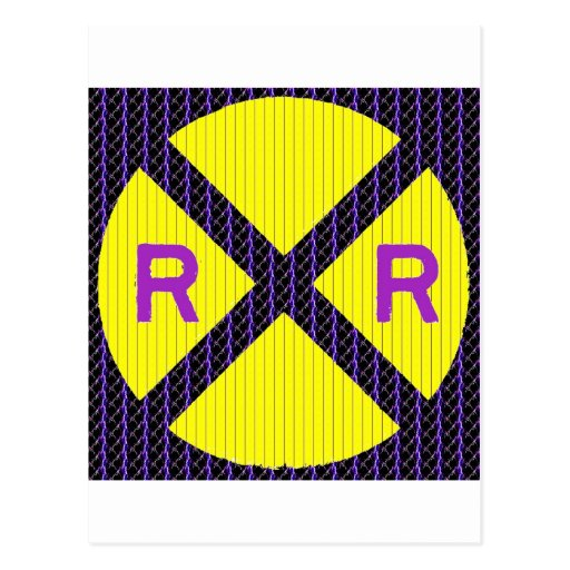 Muestra púrpura de la travesía de ferrocarril del postales