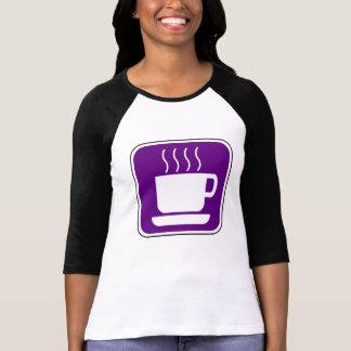 Muestra púrpura del vintage del café playeras
