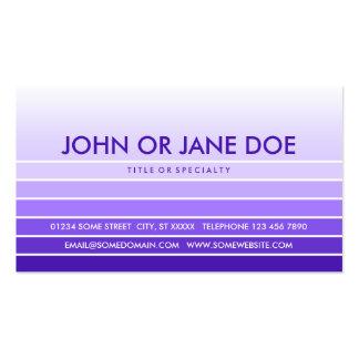 muestra púrpura tarjetas de visita