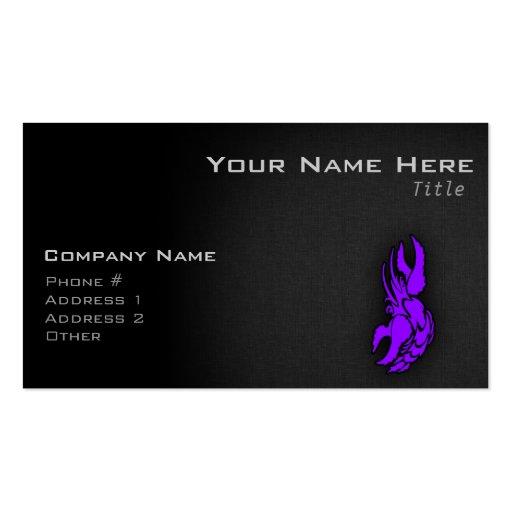 Muestra púrpura violeta del cáncer del zodiaco tarjetas de visita