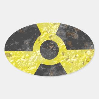 Muestra radiactiva 2 pegatina ovalada
