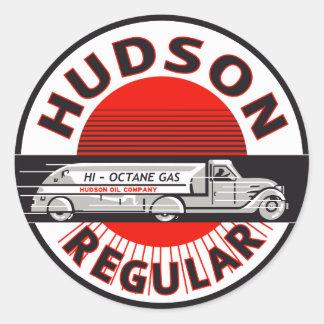 Muestra regular de la gasolina del Hudson del Pegatina Redonda