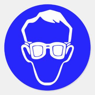 Muestra requerida de las gafas de seguridad pegatina redonda