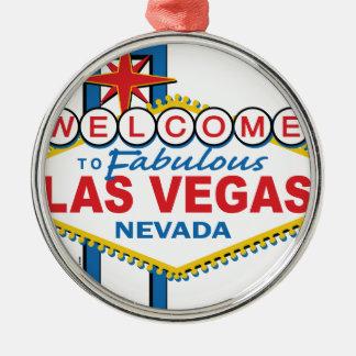 Muestra retra de Las Vegas Adorno Redondo Plateado