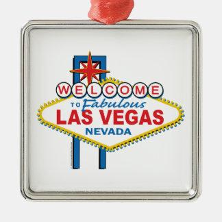 Muestra retra de Las Vegas Adorno Cuadrado Plateado