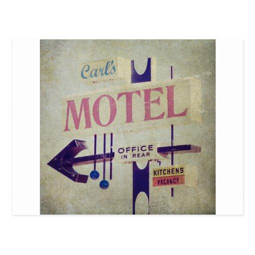 Muestra retra del motel de Carl Postales