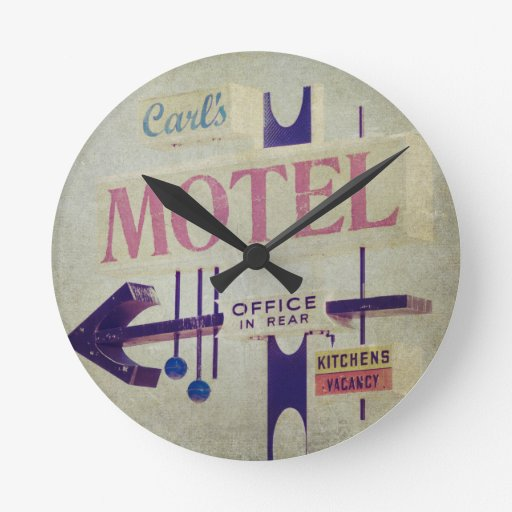 Muestra retra del motel de Carl Reloj De Pared