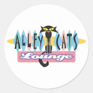 muestra retra del salón de los gatos callejeros etiquetas redondas
