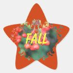 muestra roja de la estrella de las frutas de la colcomanias forma de estrellaes