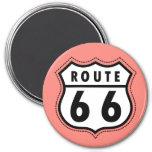 Muestra rosada coralina de la ruta 66 iman de nevera