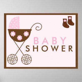 Muestra rosada de la fiesta de bienvenida al bebé póster