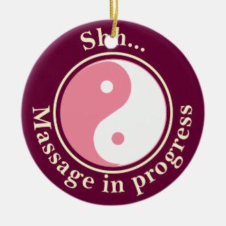 Muestra rosada de la puerta del masaje de Yin Yang