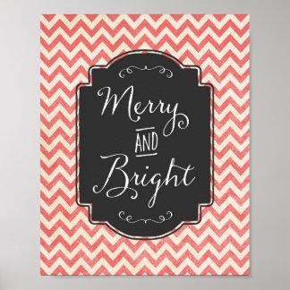 Muestra rústica feliz y brillante del navidad de póster