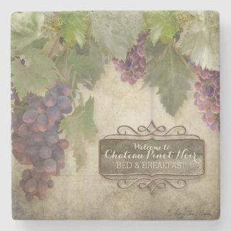 Muestra rústica personalizada del vino de la caída posavasos de piedra