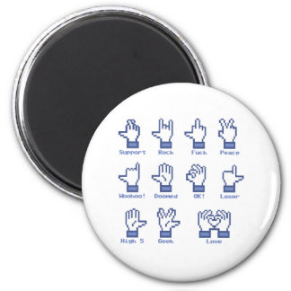 Muestra social de la mano de la red imán redondo 5 cm