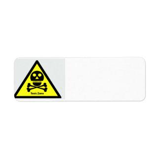 Muestra tóxica de la zona etiqueta de remite