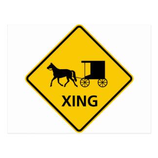 Muestra traída por caballo de la carretera de la tarjeta postal