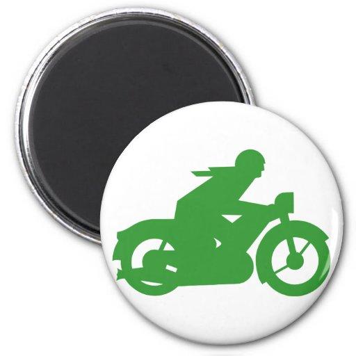 Muestra verde de Motorbiker Imán Redondo 5 Cm