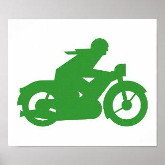 Muestra verde de Motorbiker Póster