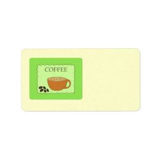 Muestra verde del café con las habas etiqueta de dirección