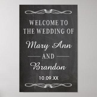 Muestra vertical de la pizarra del boda agradable posters