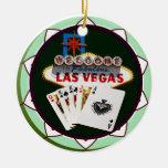 Muestra y dos reyes ficha de póker de Las Vegas Ornamentos De Navidad