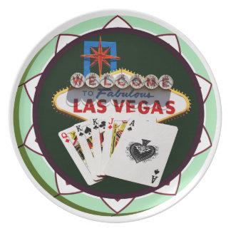 Muestra y dos reyes ficha de póker de Las Vegas Plato De Comida