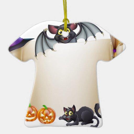 Muestra y palo de la voluta de Halloween Adorno De Cerámica En Forma De Playera