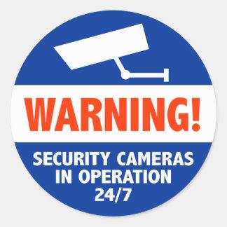 Muestras amonestadoras de la cámara de seguridad etiqueta redonda