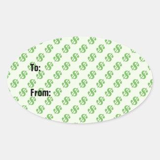 Muestras de dólar en etiqueta verde del regalo