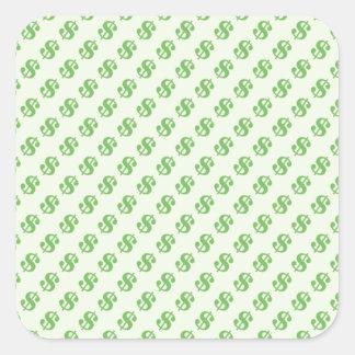 Muestras de dólar en verde pegatina cuadrada