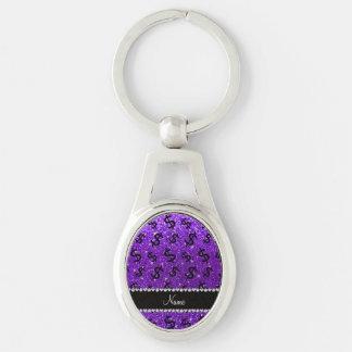 Muestras de dólar púrpuras del brillo del añil llavero plateado ovalado