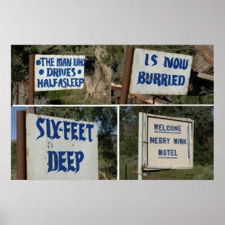 Muestras de la carretera, feliz motel del guiño posters