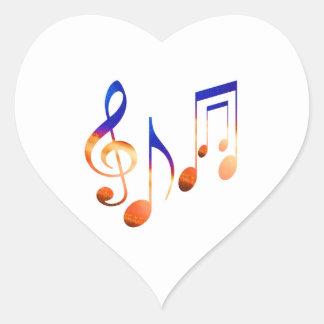 Muestras de la música de baile pegatina en forma de corazón