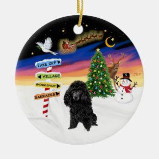 Muestras de Navidad - caniche de juguete negro Ornamento Para Arbol De Navidad