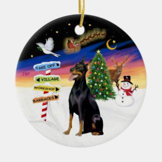 Muestras de Navidad - Doberman #1 Adorno Redondo De Cerámica