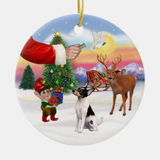 Muestras de Navidad - fox terrier del juguete Adorno Navideño Redondo De Cerámica