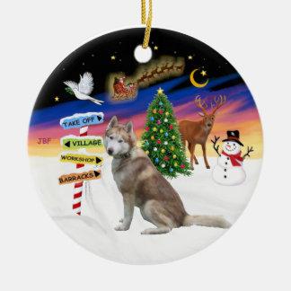 Muestras de Navidad - husky siberiano rojo Adorno Redondo De Cerámica