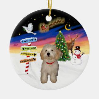 Muestras de Navidad - perrito de Havanese Adorno Navideño Redondo De Cerámica