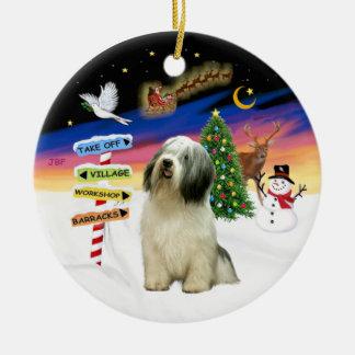 Muestras de Navidad - perro pastor polaco de la Adorno Redondo De Cerámica