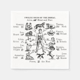 Muestras del ejemplo doce del vintage del zodiaco servilleta desechable