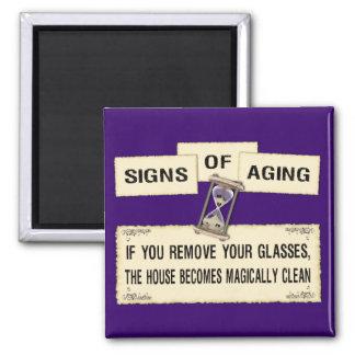 Muestras del envejecimiento - casa limpia imán cuadrado