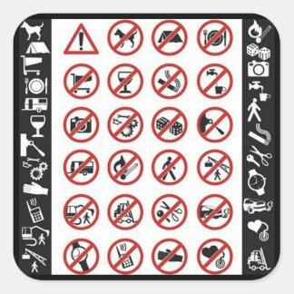 Muestras del peligro (3) calcomania cuadradas personalizada