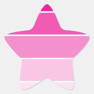 Muestras rosadas brillantes de la pintura pegatina en forma de estrella