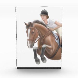 Muestre a caballo de salto el premio ecuestre adap