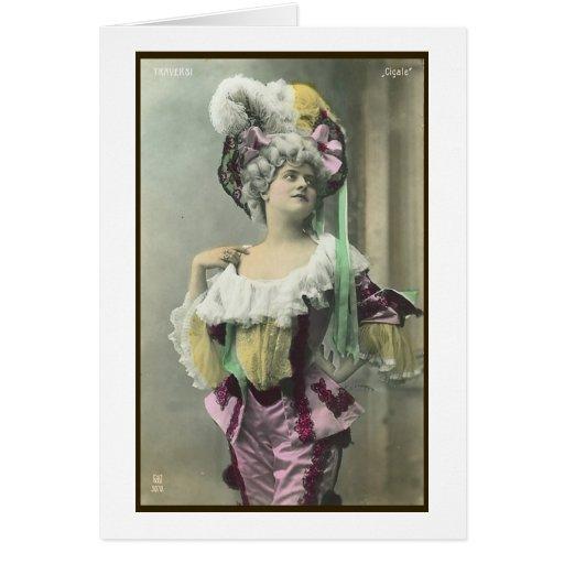 Muestre a chica el bailarín francés subido de tono tarjeta