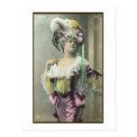 Muestre a chica el bailarín francés subido de tono tarjeta postal