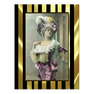 Muestre a chica el bailarín francés subido de tono tarjetas postales